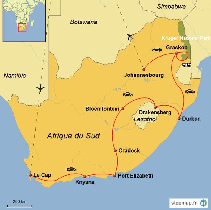 Afrique du Sud - Carte de l'Afrique du Sud