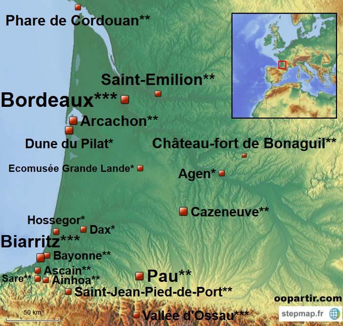 France-Aquitaine - Carte des sites touristiques en Aquitaine