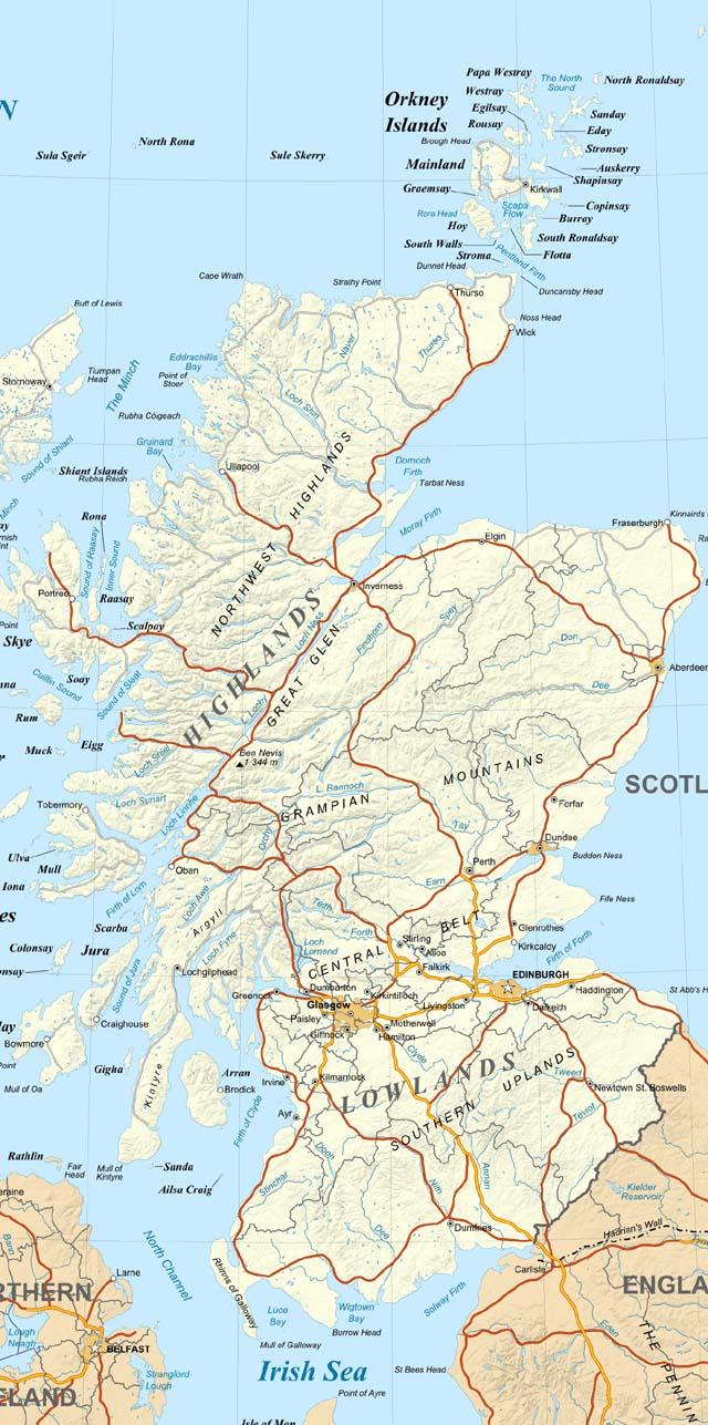 Carte touristique ecosse voyages cartes for Carte touristique
