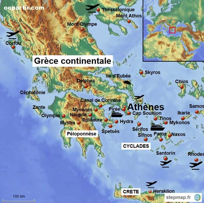 Grece (hors Crete) - Carte des lieux à visiter en Grèce