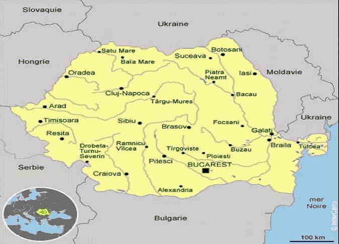 Roumanie - Carte touristique Roumanie