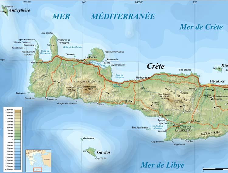 Carte De La Crete Ouest.Crete Carte De La Crete