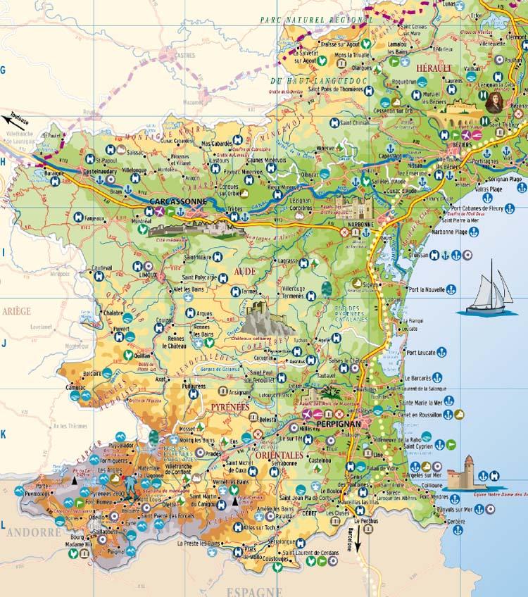 Carte Languedoc Roussillon.Languedoc Roussillon Carte Touristique Vacances Arts Guides Voyages