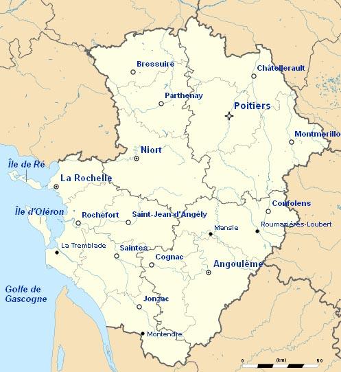 France-Poitou-Charentes - Carte touristique de la région ...